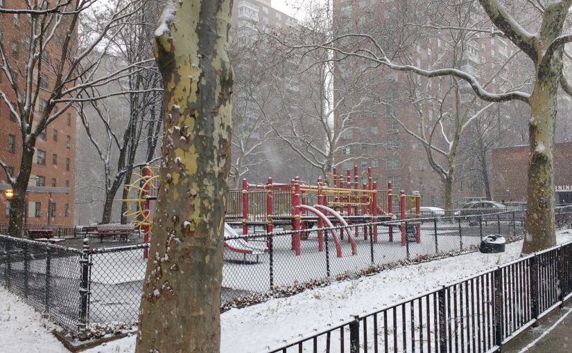 Erster Schnee in Morningside Heights